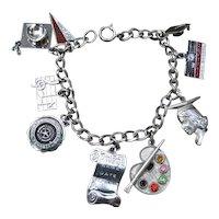 Sterling Charm Bracelet With 9 Charms Enamel & Rhinestone