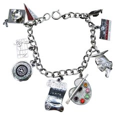 Sterling Charm Bracelet With 9 Charms Enamel & Rhinestone