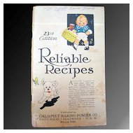Reliable Recipes - Calumet Baking Powder Co. 1926