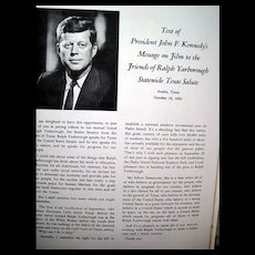Vintage Political Ephemera - Texas Salute to United States Senator Ralph W. Yarborough -- Amazing Political Ephemera