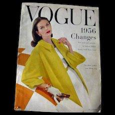 Vintage Vogue Fashion Magazine January 1956 / Fashion Photography / Vintage Advertising