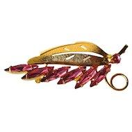 Vintage Pink Navetter Rhinestone Spray Pin / Vintage Jewelry / Vintage Brooch