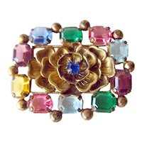 Exquisite Multi Color Crystal Floral Pin / Vintage Jewelry / Vintage Brooch