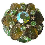 Molded Green Rhinestone Pin / Vintage Jewelry / Vintage Brooch
