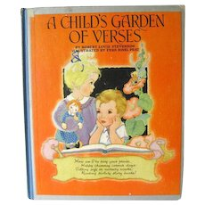 A Childs Garden Of Verses Illustrated by Fern Bisel Peat / Illustrated Childrens Book / Gift Book / 1940s Children Illustrations