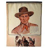 Wild Bill Hickok Western Themed Writing Tablet - Vintage Stationary - Writing Pad - Old West - Cowboy
