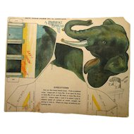 RARE Elephant Cut Out Toy 1906 From The Boston Globe - Circus Toy - Paper Toy - Boston Globe Art Supplement - A Patient Beggar