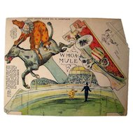 RARE Clown And Mule Cut Out Toy 1905 From The Boston Globe - Circus Toy - Paper Toy - Boston Globe Art Supplement - Whoa Mule