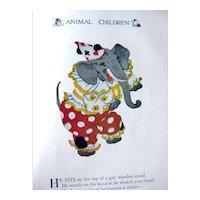 Animal Children Vintage Illustrated Childrens Book - M P Ross Illustrations - 1913 Volland