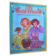 My Best Friend Katie and Jessica Paper Dolls Uncut by Whitman 1980s - Vintage Paper Dolls