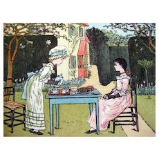 Under the Window Pictures and Rhymes For Children Kate Greenaway With Dust Jacket 1940s Edition - Victorian Children - Juvenile Literature