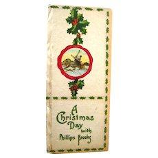 Phillips Brooks A Christmas Day - Holiday Book - Christmas Decor - Vintage Christmas