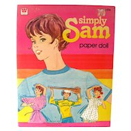Uncut Paper Doll Book SIMPLY SAM by Whitman Publishing - 1980s Collectible Paper Dolls
