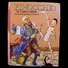 Vintage Childrens Book Pinocchio By Carlo Collodi Illustrated by Charles Folkard - Kids Classic Literature