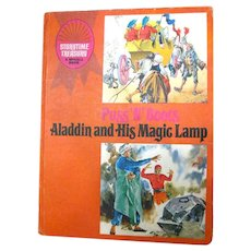 Aladdin and His Magic Lamp and Puss In Boots Vintage Childrens Book Illustrated Kids Books