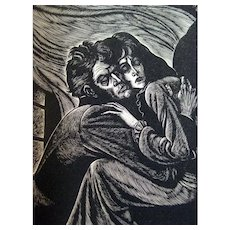 Emily Bronte Wuthering Heights and Jane Eyre Set With Wood Engravings - Classic Literature - Illustrated Book - Eichenberg