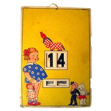 German Childrens Calendar With Rotating Dials Great For Nursery Decor - Doll Illustration