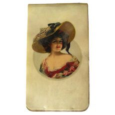 Gibson Girl Celluloid Notepad With Vintage Calendar and Other Facts In Unused Condition