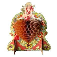 Honeycomb Heart Valentine Card 3D Art Deco Illustration