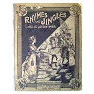 Vintage Music Book Rhymes and Jingles Jingles and Rhymes Nursery Rhyme Musical Book