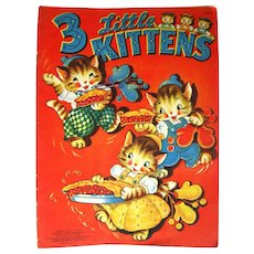 Merril Publishing 3 Little Kitten Vintage Linen Book Collectible Book