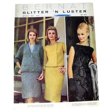 Bernat Glitter N Luster Pattern Book, Vintage Knitting Patterns, Needlcraft, Mid Century Fashion, Vintage Evening Dress