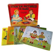 Stick Em Pictures To Make Four Vintage Activity Books In Original Box - Childrens Books