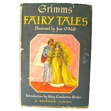 FAIRY TALES By Grimm Brothers - Classic Childrens Literature Rainbow Edition 1940s
