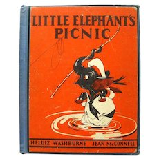 LITTLE ELEPHANTS PICNIC Very Collectible Childrens Book With Illustrations by Jean mcConnell RARE Kids Books