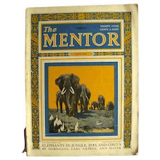 Vintage Magazine THE MENTOR June 1924 With Elephant Theme Articles - Nature Magazine - Old Magazines