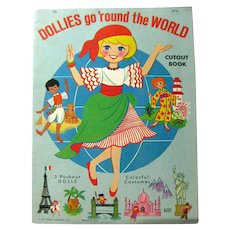DOLLIES GO ROUND THE WORLD Vintage Paper Doll Book Uncut Vintage Paper Dolls