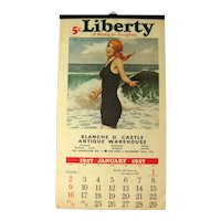 Liberty Calendar 1970s Reproduction of Liberty Magazines 1927 Calendar With Full Color Illustrations