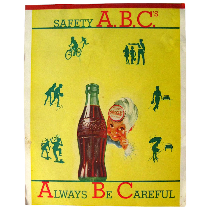 Vintage Advertising COCA COLA Writing Tablet With Safety Tips For Kids -  Coca-Cola Sprite Boy