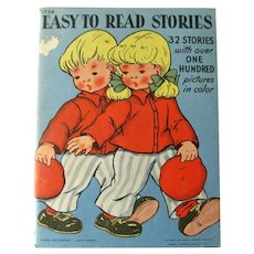 Vintage Reading Book EASY TO READ STORIES With 100 Pictures - Vintage 1940s Childrens Book Soft Cover