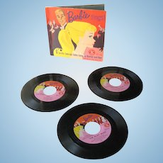 Barbie Sings 45 rpm Record And Book Set With Lyric Book and 3 Records - Barbie Doll Collectibles - Ken Doll