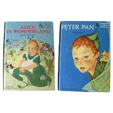 Double Sided Book PETER PAN and ALICE IN WONDERLAND Read Me A Story Program Child's Book - Read Aloud Story