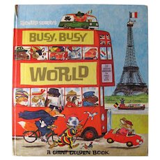 Richard Scarry's Busy World Book - Golden Press Books - Collectible Children's Books