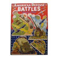 World War 2 Military Toys AMERICAN DEFENSE BATTLES - Militaria - RARE Collectible Punch Out Book