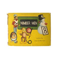 Vintage Early Learning Book NUMBER MEN 1940s Illustrated Kids Book