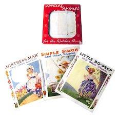 JINGLE RHYMES For Kiddies Hour Set of 3 Nursery Rhyme Linen-Like Books