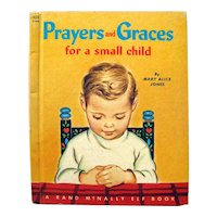 Vintage Elf Book Prayers and Graces For A Small Child, Religious Book For Kids