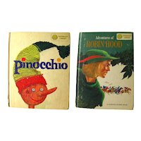 Robin Hood and Pinocchio Double Sided Book Dandelion Library 1960s Vintage Kids Books