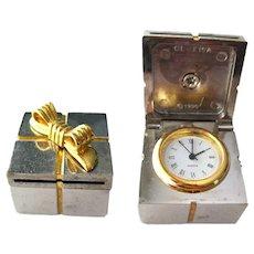 Present Box With Clock Inside - Desk Accessory - Gift Clock