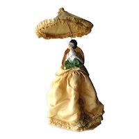 Porcelain German Half Doll Boudoir Lamp Gold Silk Dress