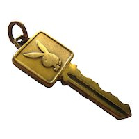 Playboy Bunny Key Charm 10K Gold Fill - Charm Bracelet - Hugh Hefner