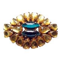 Gold & Green Rhinestone Vintage Brooch - Vintage Jewelry