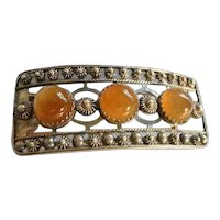 Exquisite Vintage Russian Silver & Carnelian Brooch - RUSSIAN FEDERATION Communist Period Silver 916