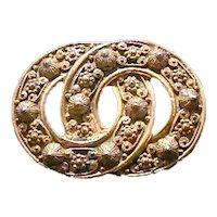Russian Edwardian Style Interlocking Circle Pin