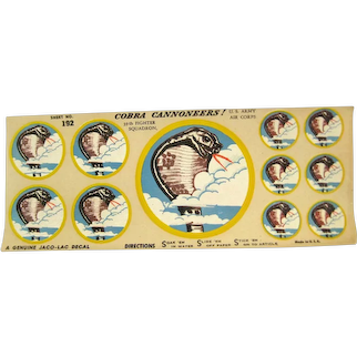 Military Army Air Corps 39th Fighter Squadron Slide Decals - Vintage World War II Militaria - Model Airplane Decals