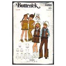 Vintage Western Cowboy & Indian Butterick Pattern